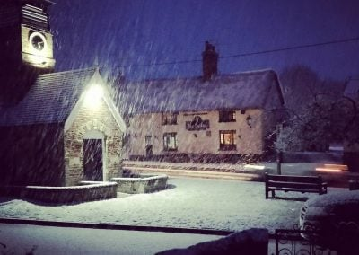 Snow scene on the green - photo taken by Francesca Sheppard