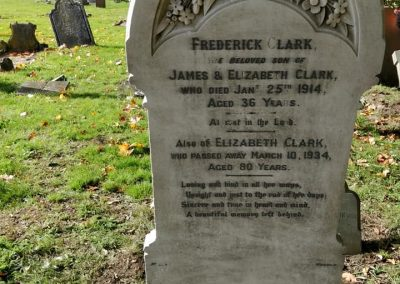 Headstone of Frederick Clark laid to rest at Heath and Reach Parish Cemetery