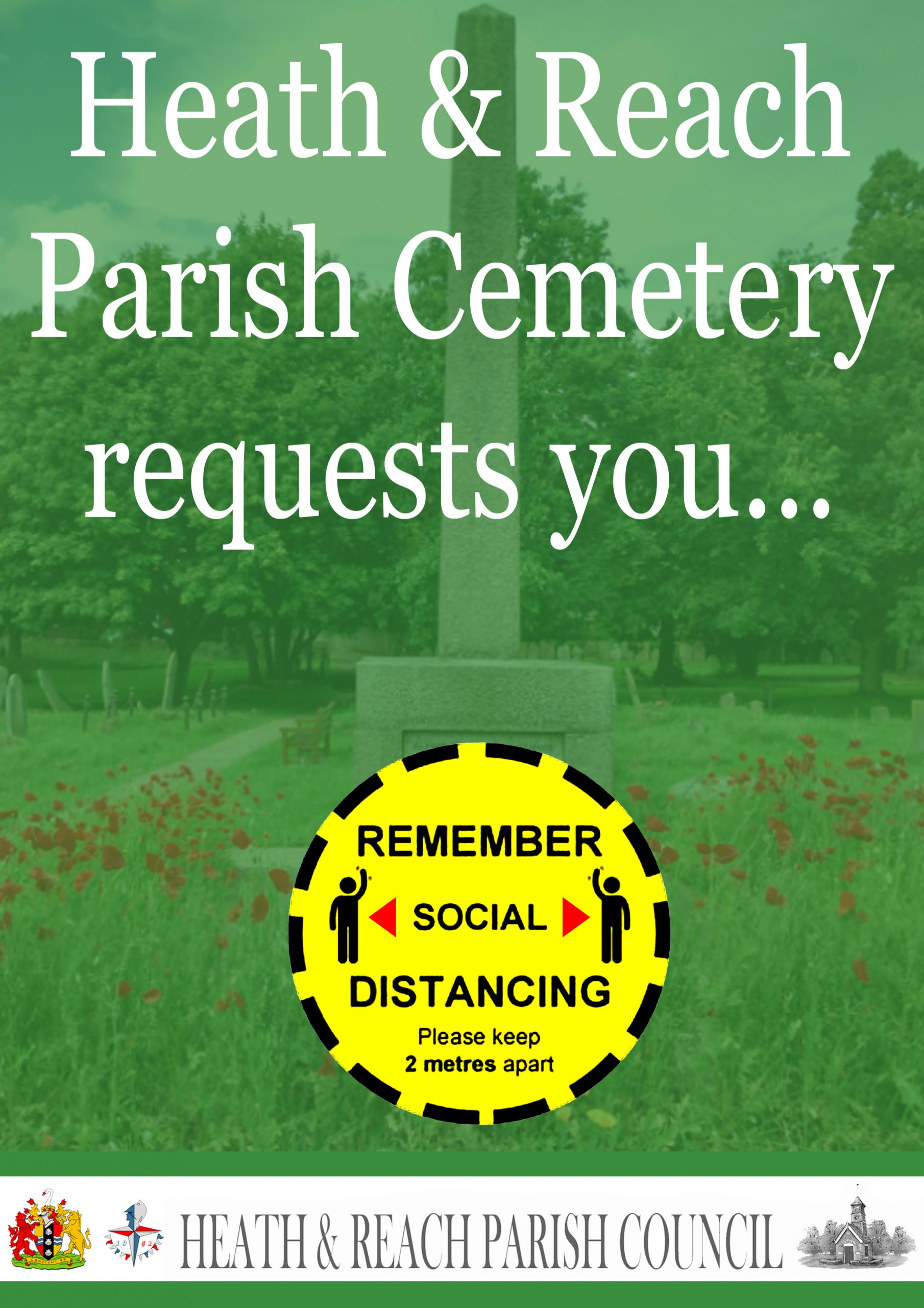 2 metre safe distance poster for the Heath and Reach Cemetery